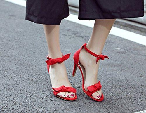 Aisun Damen Knöchelriemchen Schleifen Toe Open Kitten Heel Schnalle Sandalen Rot