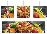 Frisches Obst und Gemüse im Korb B&W Detail inkl. Lampenfassung E27, Lampe mit Motivdruck, tolle Deckenlampe, Hängelampe, Pendelleuchte - Durchmesser 30cm - Dekoration mit Licht ideal für Wohnzimmer, Kinderzimmer, Schlafzimmer