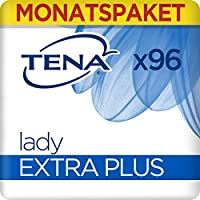 TENA Lady Extra Plus Monatspaket / Geruchsneutralisierende Hygieneeinlagen / Extra Schutz für mittlere Inkontinenz / Blasenschwäche / 6 x 16 Stück
