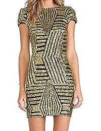 a5024109183f Donna Slim Fit Vestito Matita Paillettes Maniche Lunghe Rotondo Collo  Pacchetto Abito Hip Bodycon Dress Mini