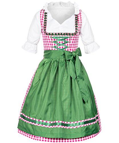 Tracht & Pracht - Damen 100% Baumwolle - Dirndl Linda 2 tlg. - Kleid Karo Pink