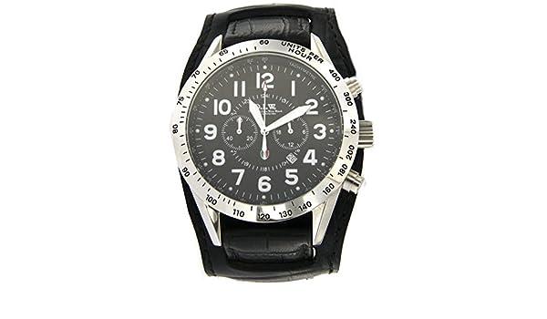 Ateliers italiennes Wrist Watch Montre chronographe Homme Caisse acier avec  cadran rond et bracelet cuir noir referenza tigcstlu00nebinero  Amazon.fr   ... 8a16e38b41f