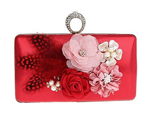 MYLL Frauen Handtaschen Damen Blumen Abendtasche Braut Hochzeit Tasche Handtasche Party Prom Bag Purse,Red Frauen-clearance Stiefel