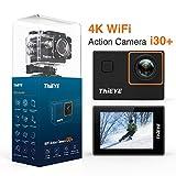 ThiEYE i30 + 4K Action Cam Schermo HD da 12 MP videocamera per Wi-Fi 60M Sport subacqueo, Controllo App con Accessori Completi per Casco da Ciclismo