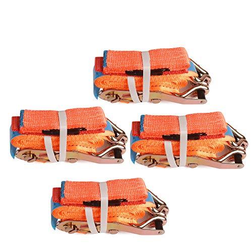 everfarel Spanngurte Autotransport Ratschenspanngurt mit Ratsche,0.8/4/6/5T,Orange (5T,4X5mm,Orangen)