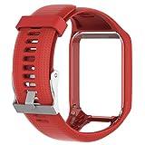 FlYHIGH Sangle de Bracelet de Rechange en Silicone pour Bande de Montre pour Tomtom Runner 23Spark 3Montre GPS Como muestra la imagen Rouge