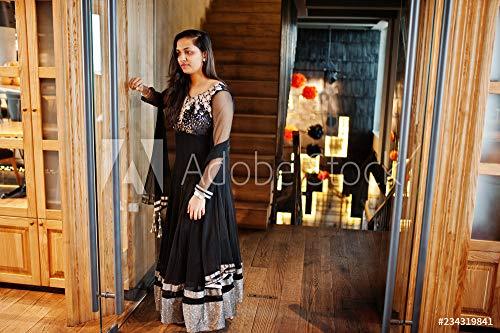 Wunschmotiv: Pretty Indian Girl in Black Saree Dress Posed at Restaurant. #234319841 - Bild auf Forex-Platte - 3:2-60 x 40 cm / 40 x 60 cm Black Indian Girl