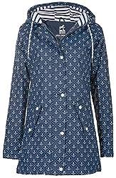 Friesennerz Borkum | Regenjacke | Regenmantel | Segeljacke | Wetterjacke | Allwetterjacke | Maritime Jacke | Minimalprints Anker & Dots | Gestreiftes Innenfutter (42/XL, Blau-Weiß)