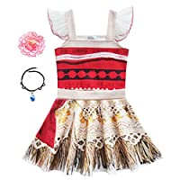 Little Girls Princess Dress Lace Ruffle Sleeve for Moana Costume Outfit with Necklace Flower For Halloween Christmas Dress Up (90(2-3Y), Red)