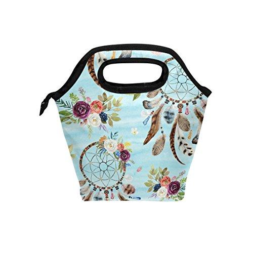 Hunihuni Watercolor étnico boho floral atrapasueños aislado térmica almuerzo enfriador bolsa bolsa Bento Box Bolso de mano con cremallera para escuela oficina picnic