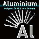 Aluminiumstab 8 x 100 mm, Reinaluminium Al 99,5, Aluminiumstabanode, Aluminiumelektrode für Galvanik, Aluminium