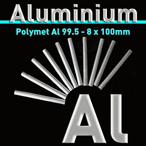Barra de aluminio 8x 100mm, aluminio al 99,5pura, aluminio STA banode, aluminio electrodo para galvanoplástica