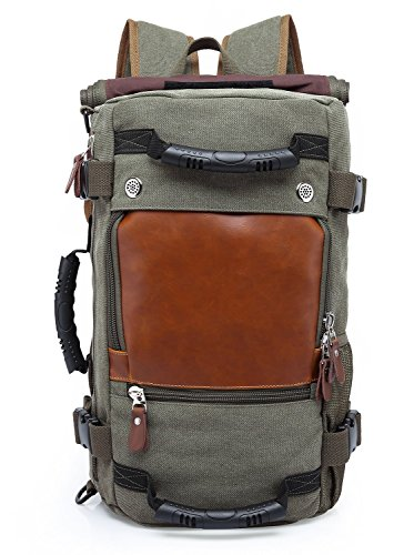 Best canvas backpack in India 2020 MOCA 4in1 Canvas casual Backpack Vintage Military Messenger Hiking Camping outdoor Trip Tour Travel Duffel Shoulder Casual Bag BackPack Rucksack 0208 (Inexperienced) Image 2