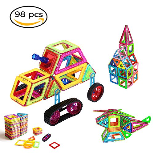 Magnetic Building Blocks, OCDAY 98 pcs Rainbow Magnetic Building Blocks Set Creative and Educational Toys, DIY 3D Educational Learning Game, Great Gifts for Baby Toddlers