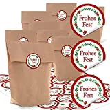 24 kleine braune Papiertüten natur Kraftpapier 14 x 22 x 5,6 cm + 24 runde Aufkleber 4 cm FROHES FEST Kranz rot grün weihnachtliche Geschenk Verpackung zum Befüllen bio