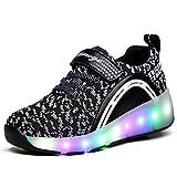 Fexkean Chaussures de Sport Baskets Lumineuses Clignotante LED Chaussures à Roulettes avec 7 Colorés LED Touché Plus Cool Pour Enfant