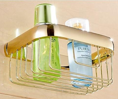 TougMoo modernes Badezimmer Zubehör Produkte massiv Messing verchromt fertigen Ecke Glasregal Gb012G-3,Gelb