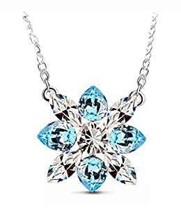 Leyu Fashion Wang Swarovski Elements Crystal Snowflake collana del fiore di Natale Regali per Lei