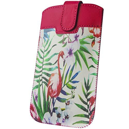 Handyschale24 Slim Case für Oukitel U2 Handyschale Flamingo Design Schutzhülle Tasche Cover Etui mit Magnetverschluss