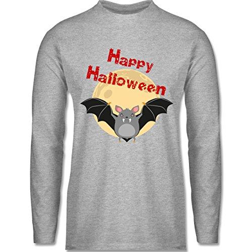 Halloween - Happy Halloween Fledermaus - Longsleeve / langärmeliges T-Shirt für Herren Grau Meliert