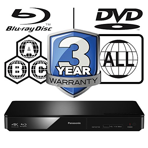 Panasonic dmp-bdt180eb Smart 3D 4 K Upscaling icos Multi Region alle Code Zone Free Blu-ray Player. BLU-RAY Zonen A, B und C, DVD Regionen 1–8. Youtube, NetFlix etc.. HDMI Ausgang. HDD Wiedergabe (Panasonic Upscaling Dvd-player)
