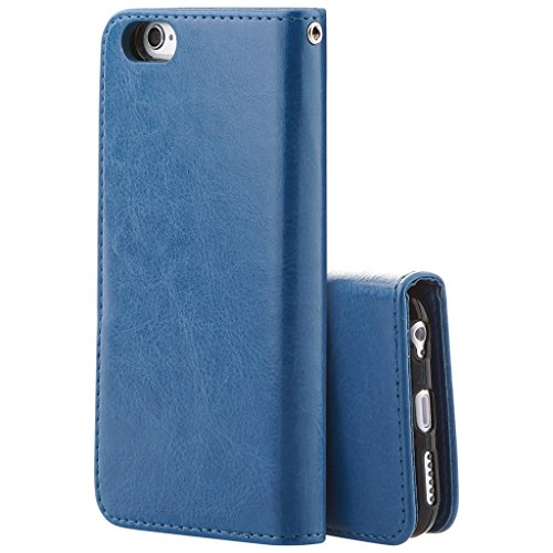 Best Quality Apple iphone 5 Case cover, Apple iPhone 5 Blue Designer 2-1 Multi-function Detachable Magnetic 3 Card Slots Wallet Style Wallet Case Cover