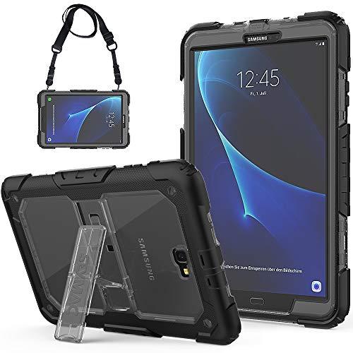 SEYMAC Galaxy Tab A 10.1 Hülle Robuste Schutzhülle mit eingebautem Ständer/Verstellbarer Schultergurt für Samsung Tab A6 10.1 2016 Tablet (SM-T580/SM-T585, Keine Stift-Version) schwarz/grau