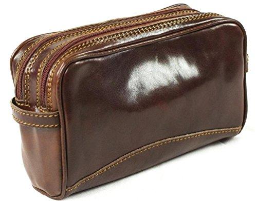 Echtes italienisches Leder Luxus Wash Bag Travel Toiletry Twin Fach Braun (Leder Echtem Italienischen Medium)