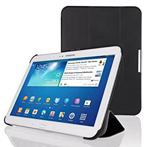 EasyAcc? Ultra Slim Samsung Galaxy Tab 3 10.1 Protector Leather Case Smart Case Back Cover with Stand / Auto Sleep Wake-up for Samsung Galaxy Tab 3 10.1 P5200 P5210 P5220 (Top Premium PU Leather, Black,Ultra Thin)