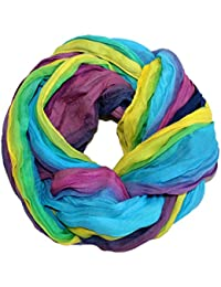 XXL Schlauchschal und Schal gestreift Regenbogenfarbe Damen LS025-030