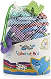 Bathtime Buddies alphabet foam letters set, wet, stick and play includes 65 lowercase letters and handy net storage bagP