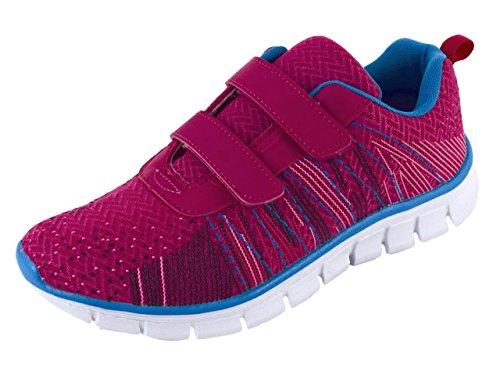 Damen Sneaker Sportschuhe für Freizeit und Fitness Schwarz Pink Weiss mit Klettverwschluss Gr. 36-41 (39, Pink)