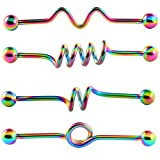 BodyJ4You De las mujeres set 4 arco iris barra industrial espirales kit de 35mm 14g pendiente de cartílago