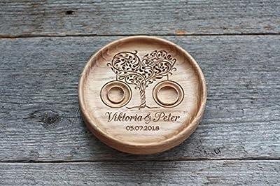 "Anneau Oreiler alternative, Boîte de bague de mariage alternative, Porte alliance en bois, Vaisselle anneau de mariage en bois gravés avec les noms et date, "" Arbre d'amour"" , "" Heart Tree""."