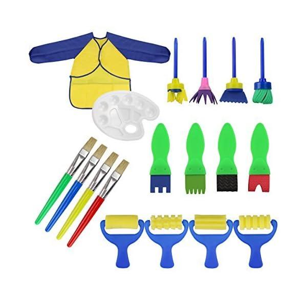 Runfon Kit Di 18 Strumenti Educativi Spugna Da Pittura Per Bambini