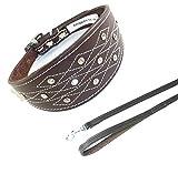 35,6–43,2cm braun Windhund Leder Halsband mit Naht Design Set Passende Leine