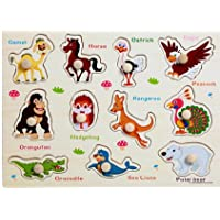 Doolland Wooden Animal Puzzle Toys Baby Kids Childrens Education Learning Cards Cognitive Board