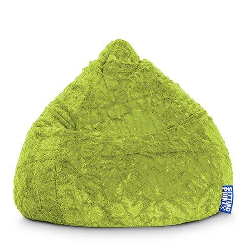 lifestyle4living Sitzsack aus Webplüsch in grün,Beanbag Fluffy XL, Material 100% Polyester,...