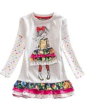 JERFER Mädchen Crewneck Langarm Casual Karikatur Stickerei Party T-Shirt Kleid Kinderkleider Festliche 2-8 T/Jahre