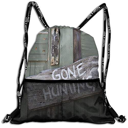 EELKKO Mesh Beam Backpack Lightweight Foldable Large Capacity Drawstring Casual Rucksack, Gone Hunting Written On Wooden Board Old Worn Out Cottage Door Seasonal Hobby Fun,Unisex Fitness Bag -