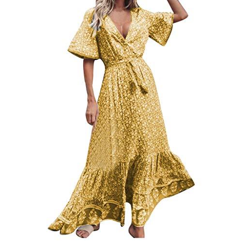 4f96afcf6b Xmiral Fashion Maxi Dress Vintage V-Neck Manica Corta Stampa Bottoni  Vintage (M,