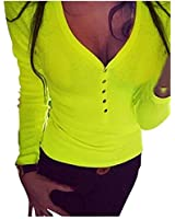 Encounter Damen Langarmshirt Regular Fit Bluse Top Oberteil V-Ausschnitt mit Knöpfen Bluse Slim T-shirt Pullover