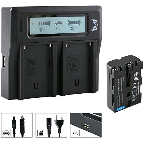 SK Akku Sony NP-FM500H 2040mAh + LCD Dual Doppel Ladegerät für Sony NP-F550 NP-F750 NP-F950 NP-F990 NP-FM50 NP-FM500 H und weitere Np-fm50-lithium-batterie