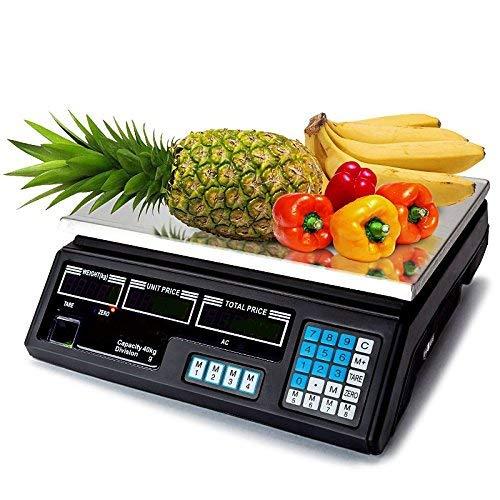 Bilancia per frutta e verdura, fino a 40 Kg (5/{68b6d70e41a6196813434b0169a2f2b093933b45e3a730d28dc3d03df71066be} grammi), funzione somma prezzi e batteria di sicurezza