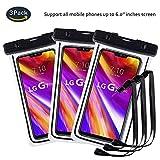 pinlu® 3 Pack IPX8 Wasserdichte Tasche, für Smartphones bis 6 Zoll, für Wiko Pulp Fab 4G, Wiko Pulp 3G, Wiko Pulp 4G, Wiko Rainbow 3G, sandproof Protective Shell -Schwarz+Schwarz+Schwarz