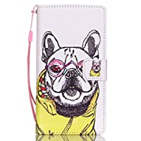 iGrelem® Case for Huawei P8 Lite, Premium PU Leather Wallet Case, Shockproof, Nonslip, Slim Fit Folio Case with Card Slots, Magnetic Closure, Silicone Cover for P8 Lite, Dandelion, Flower, Feather, Multicolor Pattern Flip Case, [Dog, Multicolor]
