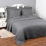 Gesteppte Tagesdecke 220x240 cm Grau mit 2 Kissenbezüge für Doppelbett Schlafzimmer, moderner karierter Bettüberwurf Uni Wende-Design, hypoallergene atmungsaktive Mikrofaser Steppdecke von Bedsure