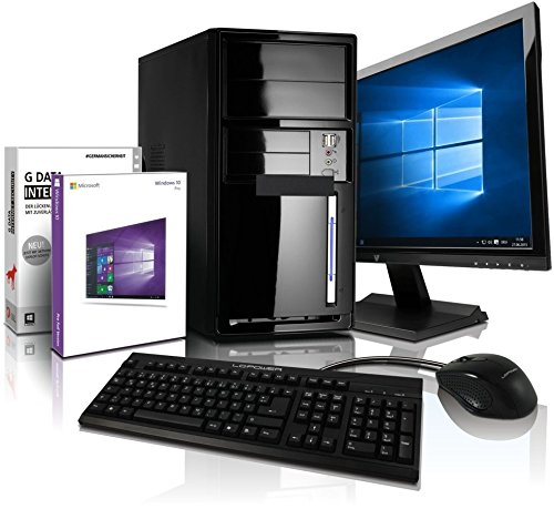 Komplett Flüster-PC Paket Intel Quad-Core Office/Multimedia shinobee Computer mit 3 Jahren Garantie! inkl. Windows10 Professional - INTEL Quad Core 4x2.41 GHz, 8GB RAM, 500GB HDD, Intel HD Graphics, USB 3.0, HDMI, VGA, Office, 22-Zoll LED TFT Monitor, Tastatur+Maus #5001