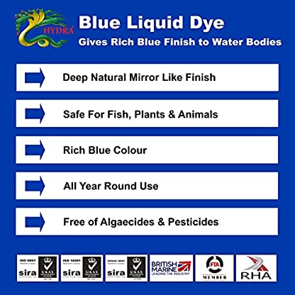 HYDRA LIQUID BLUE DYE 5L treats UpTo 625,000 litres Concentrated Liquid Decor Dye Inhibits Algae/Weed Growth Safe for… 4
