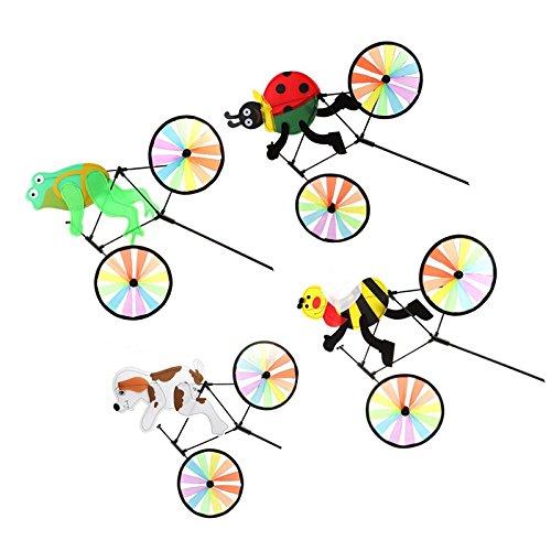 Galleria fotografica Sharplace 4pezzi Mulino A Vento Forma Animale Sul Bici Rotella whirligig Decor Prato Giardino